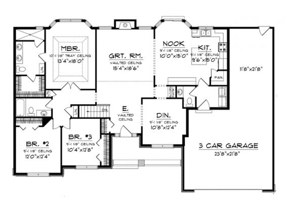 ePlans Ranch House Plan Beautiful Master Suite with Bay Window
