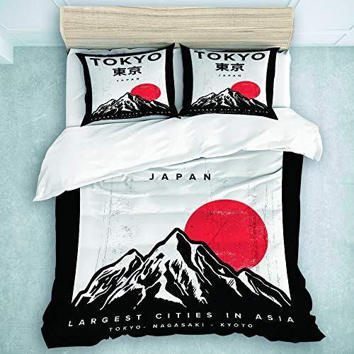 Tartiny Parure De Lit T Shirt Urbain Rouge Japonais Du Japon Tokyo Graphic Mountain Vintage 1 Housse De Couette 140 20 Parure De Lit Housse De Couette Couette
