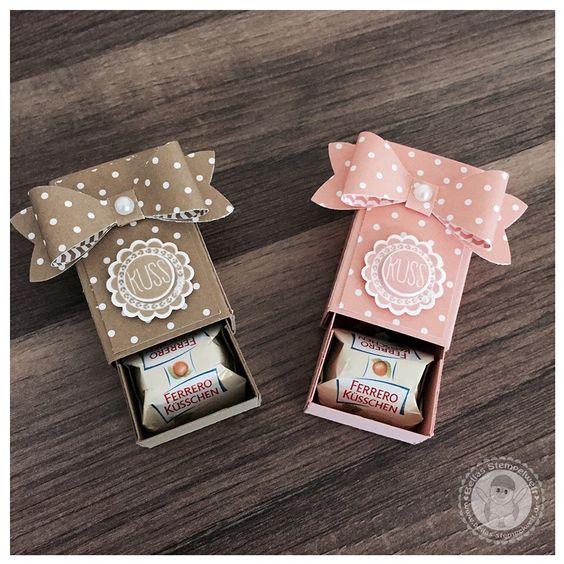 Stampin' Up! - Ferrero Küsschen Verpackung - Bellas Stempelwelt - Schleifenstanze, Herzklopfen, In Colors 2013 - 2015