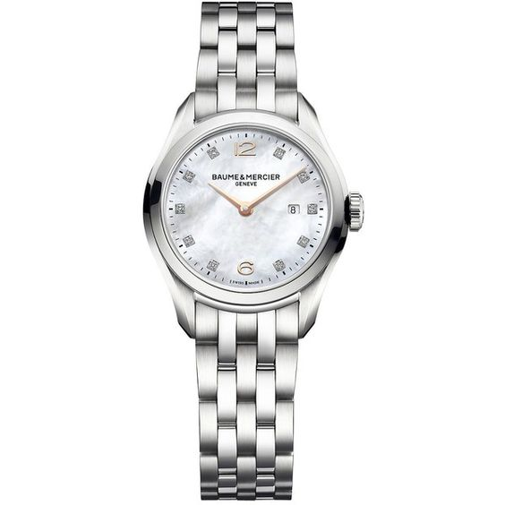 Baume & Mercier Clifton Diamond, Mother-Of-Pearl & Stainless Steel... (105,195 THB) ❤ liked on Polyvore featuring jewelry, watches, apparel & accessories, rose jewelry, stainless steel bracelet, rose watches, bracelet watches and baume mercier watches