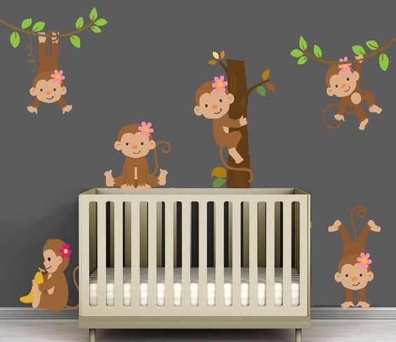 Monkey room themed nursery and monkey on pinterest for Nursery monkey fabric
