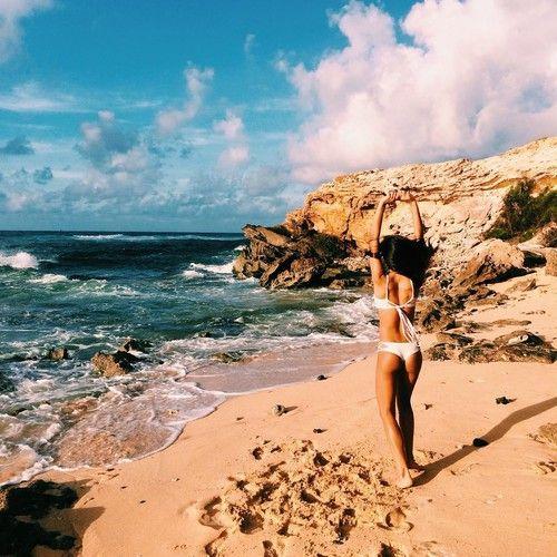 beach, bikini, and waves image