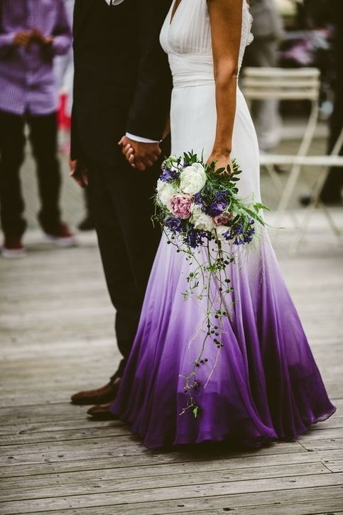 A Line V Neck Open Back Ombre Purple Chiffon Wedding Dress With