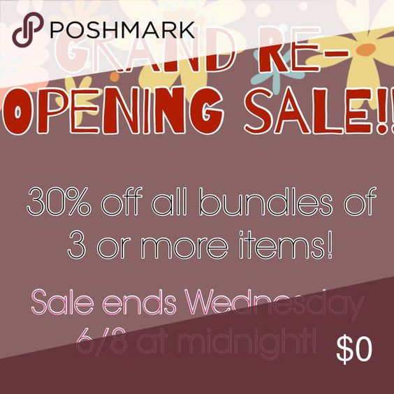 Grand Re-opening!  My closet was closed while I was moving, but now we're all settled in and unpacked! To celebrate I'm having a 4 day sale!!! Receive 30% off any bundle of 3 or more items! Sale ends Wednesday! Feel free to ask any questions you may have! Thanks for shopping! Charlotte Russe Dresses