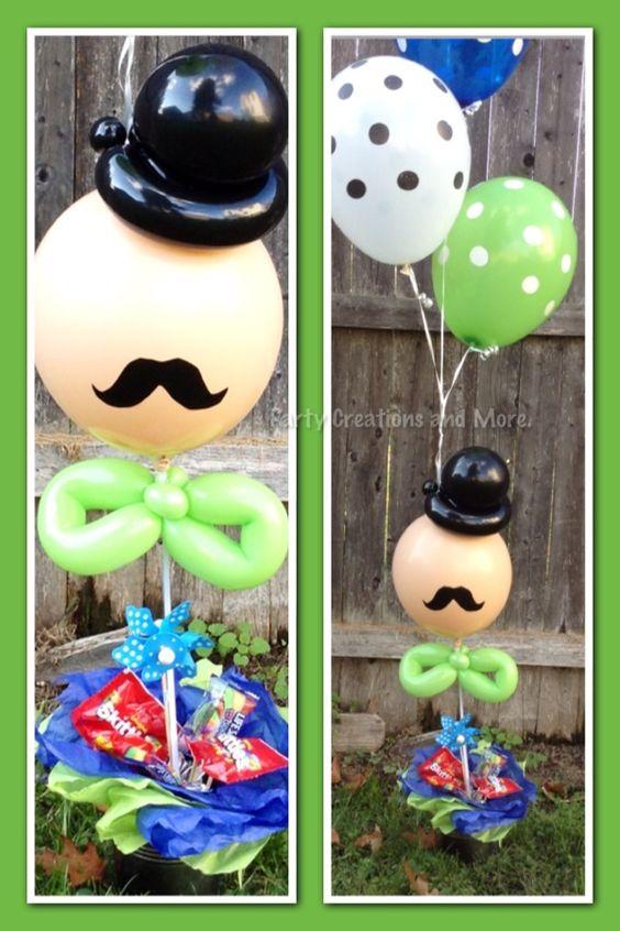 Decoracion de globos con bigotes para fiesta tem tica de for Decoracion x el dia del padre
