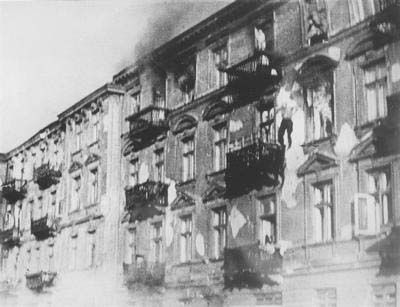 """""""Warsaw Ghetto, Poland, Jews Jumping From Windows in Order to Avoid Surrendering to the Germans During the Repression of the Uprising."""""""
