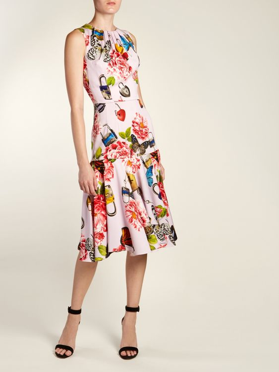 Click here to buy Dolce & Gabbana Butterfly and padlock-print sleeveless dress at MATCHESFASHION.COM