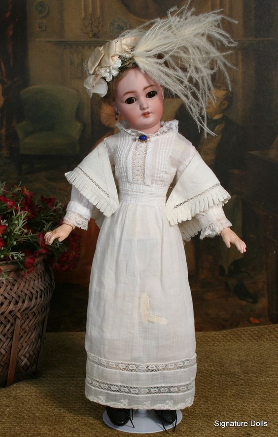 "16"" Simon & Halbig 1159 Gibson Style lady Doll in Victorian Lawn Dress"