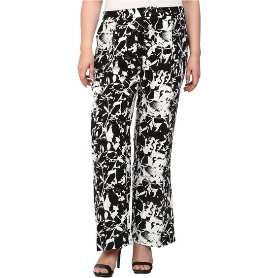 Mynt 1792 Plus Size Printed Wide Leg Pants (Flower) ($47) ❤ liked on Polyvore featuring pants, khaki, floral print pants, wide-leg pants, wide leg trousers, relaxed fit pants and floral wide leg trousers