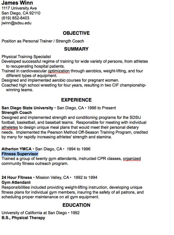 Fitness Supervisor Resume Sample -    resumesdesign - gym attendant sample resume