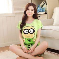 Summer Cute Womens Cartoon Short Sleeve Sleepwear Pajamas Set PJS M PJ48: