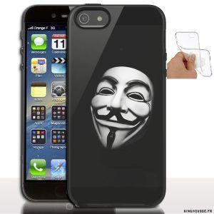Étui iphone 5 en Silicone personnalisé Anonymous - Coque souple - Gel - Pour Apple iPhone 5s, iPhone 5. #Anonymous #Silicone #iPhone5s