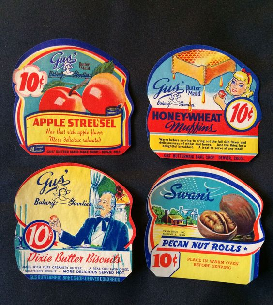 4 Vintage Food Labels - Pecan Nut Rolls / Honey Wheat Muffins / Apple Streusel / Butter Biscuits by haoli on Etsy https://www.etsy.com/listing/234020103/4-vintage-food-labels-pecan-nut-rolls