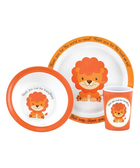 Lion 'Thank You God' Three-Piece Dish Set