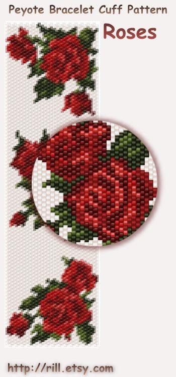 Roses -  Pattern Peyote Bracelet - Rose Peyote Cuff Bracelet Pattern - seed bead…