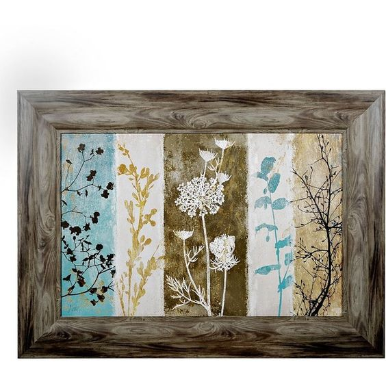 Rustic Floral Silhouette Framed Art Print (2,110 THB) ❤ liked on