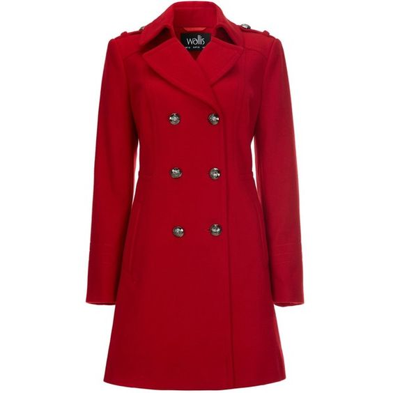 Wallis Red Military Coat found on Polyvore | Top Fashion Products
