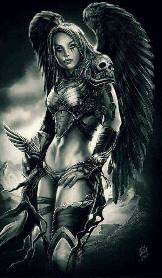 Jolie Ange Demon Tatouage Ange Demon Ange Guerrier Dark Fantasy Art