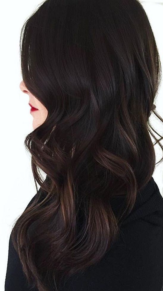Pure Jet Black Discoveries With Light Brown Highlights On Ends Hairminia Brown Hair With Blonde Highlights Hair Color For Black Hair Black Hair Balayage