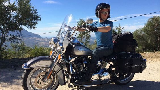 Jeremy Taylor on his hired Harley-Davidson near the town of Jimena de la Frontera - Provided by Financial Times