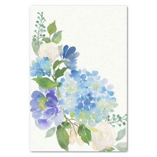 Blue Watercolor Flowers Hydrangea Tissue Paper Zazzle Com Watercolor Hydrangea Floral Watercolor Watercolor Flowers