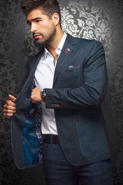- Stylish Navy Blazer for the Elegant Men - 98% Cotton, 2% Spandex - Integrated Contrasting Pocket Square - Made in Turkey, Ship from Montreal.