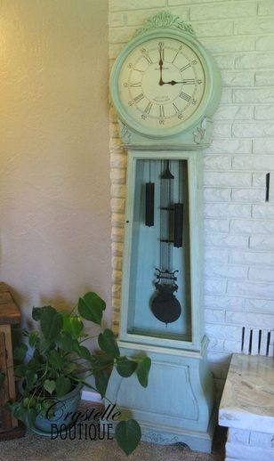 Crystelle Boutique  Vintage Seafoam Green Grandfather Clock