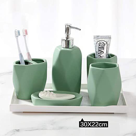 Bathroom Accessory Sets Ceramics, Bathroom Soap Dispenser Set With Tray