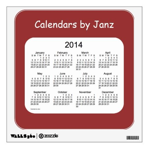 2014 Wall Calendar Decal - small Room Stickers Design from Calendars by Janz