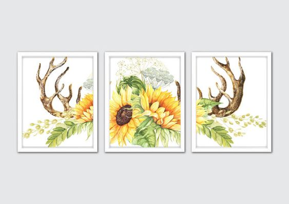 Watercolor Sunflower Art Print Sunflower Art by MintArtStudio
