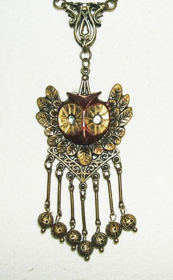 VICTORIAN OWL NECKLACE With Filigree Bead Dangle Fringe Bronze #KMEARTUSA