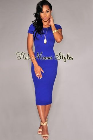 Royal-Blue Textured Short Sleeves Midi Dress Womens clothing ...