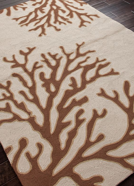 Coral Branch Out Area Rug - Ivory and Brown