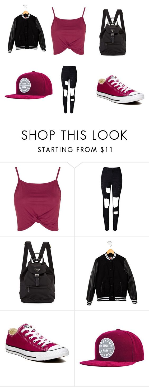 """Untitled #273"" by partydora on Polyvore featuring Topshop, WithChic, MSGM, Converse and Brixton"