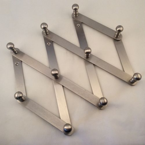 Vintage Ten Peg Brass Accordion Expandable Folding Wall Hanger Coat Hat Rack Folding Wall Wall Hanger Hat Rack