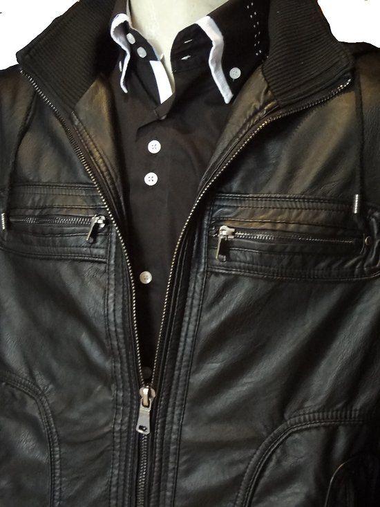 blouson homme cuir simili noir
