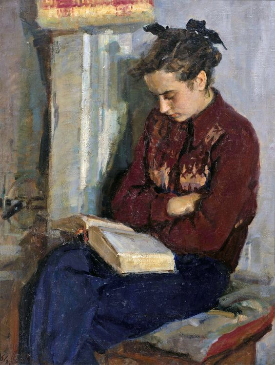 Reading by the Oven (1961). Oksana Dmitrievna Sokolovskaya (Russian, 1917-1999). Oil on canvas. Springville Museum of Art, Utah, USA.