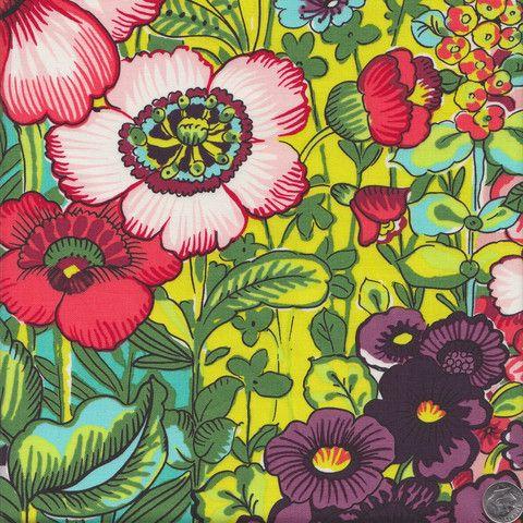 Alexander Henry Folklorico Flores de Coyoacan in Chartreuse - Quilt Sandwich Fabrics