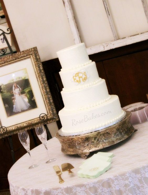 Combed Buttercream Wedding Cake with Gold Monogram