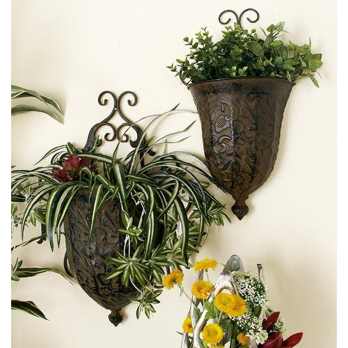 Djanira 2 Pieces Metal Alloy Wall Planter Wall Planter Planters Metal Wall Planters
