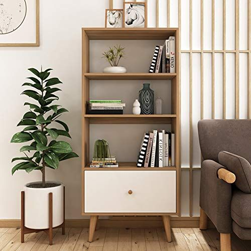 Wooden Book Shelf With Drawer Floor Bookshelf Display Stand Bookcase Book Organizer Storage Cabinet Combination Shelving For Off Shelves Wooden Books Bookcase