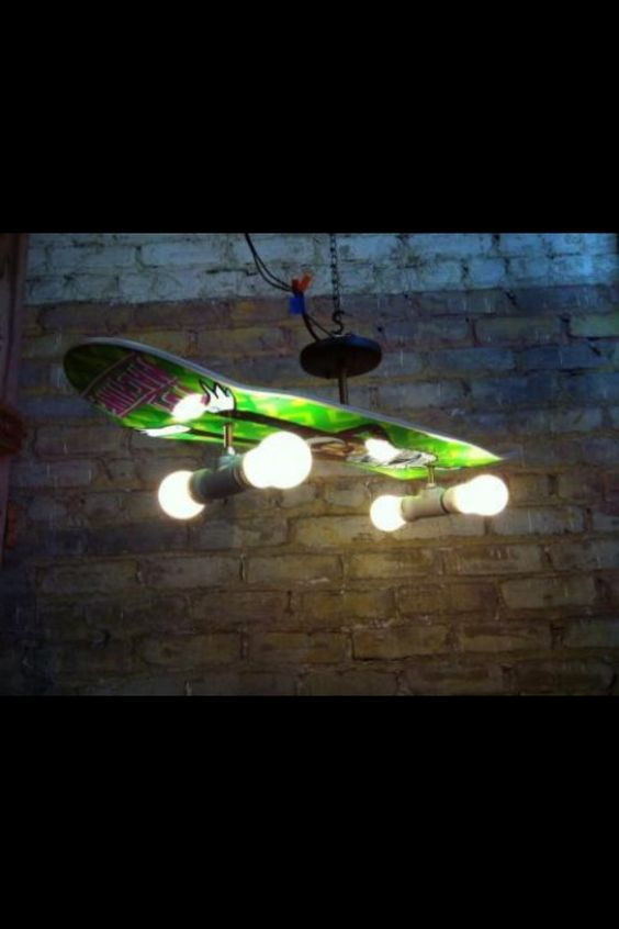 Man Cave Lighting : Boredom led to this diy skateboard chandelier caves