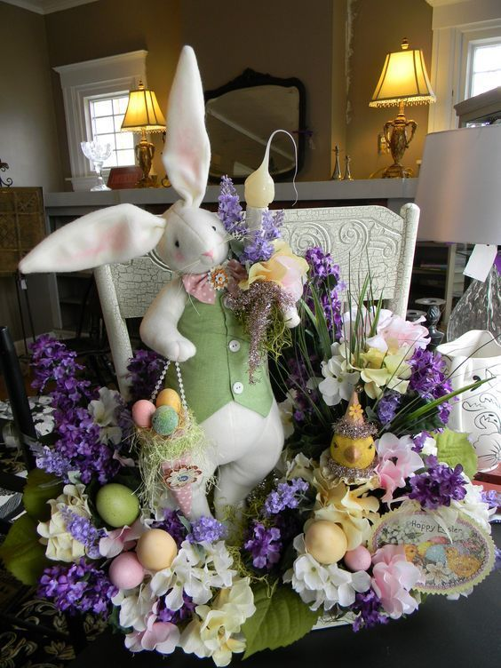 20 Easter Decorating Ideas For Your Home Page 17 Of 20 Worthminer Easter Floral Spring Easter Decor Easter Decorations Vintage