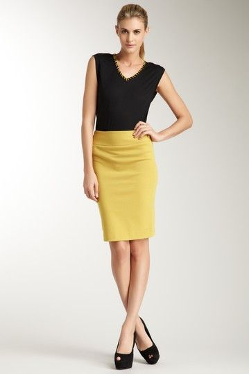 pencil skirt in mustard yellow comfy clothes