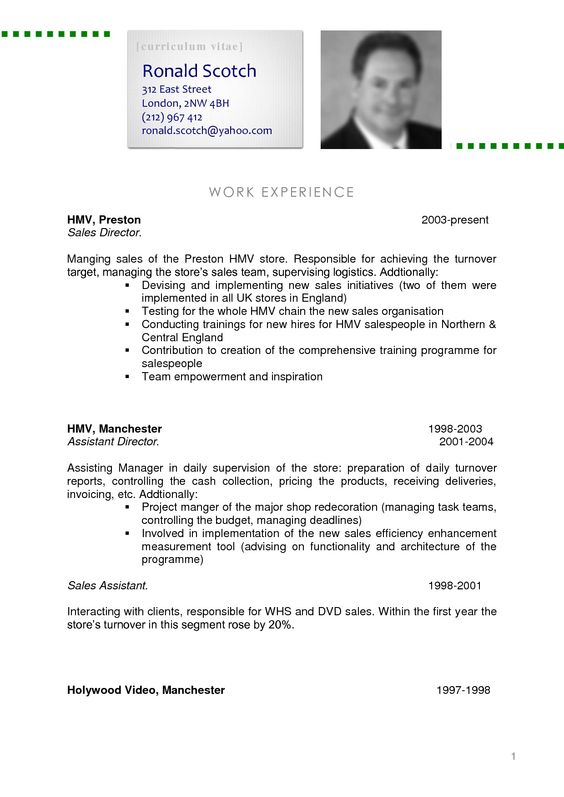 Professional Curriculum Vitae Samples - Professional Curriculum ...