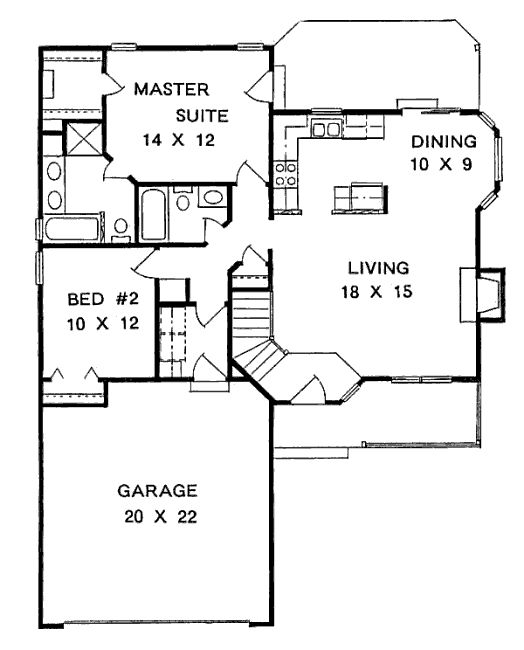 Cottage Style House Plan 2 Beds 2 Baths 1075 Sq Ft Plan 58 104 Ranch House Plans Small House Plans Ranch Style House Plans