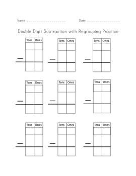 2 digit subtraction with regrouping template scaffolding for subtraction practice math. Black Bedroom Furniture Sets. Home Design Ideas