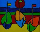"""tableau contemporain """"LES 3 POINTUS"""" acrylique sur toile style naïf : Peintures par danyrocherleroi"""