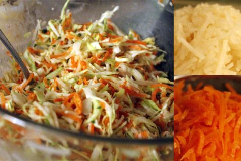 Karotten, Sellerie, Spitzkohl Salat