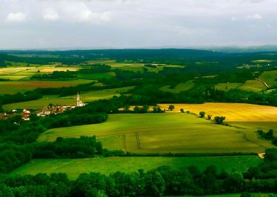 The view of the surrounding valley from the hilltop near the cathedral in Vezelay
